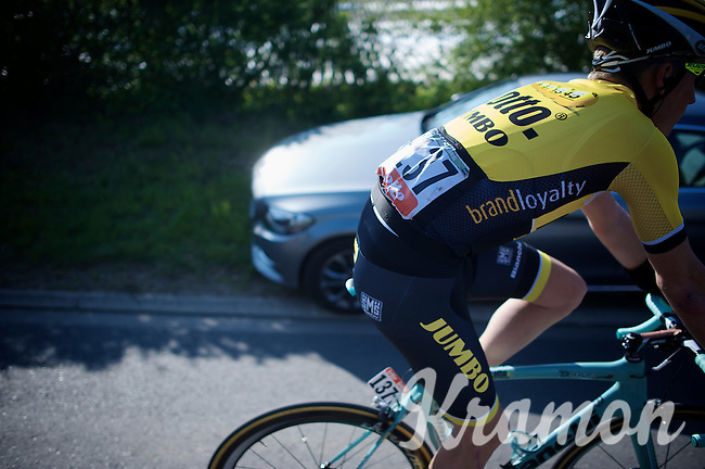 Mike Teunissen (NLD/LottoNL-Jumbo) riding off to the teambus after the finish<br /> <br /> 79th Flèche Wallonne 2015