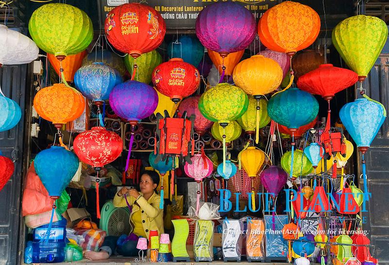 handcrated lanterns shop. Hoi An, Vietnam, Asia.
