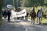 Pix: Shaun Flannery/shaunflanneryphotography.com...COPYRIGHT PICTURE>>SHAUN FLANNERY>01302-570814>>07778315553>>..17th October 1999..Animal Rights demonstration outside the mink farm at Cadeby Road, Sprotbrough..Mounted South Yorkshire Police officers lead protesters along Cadeby Road..