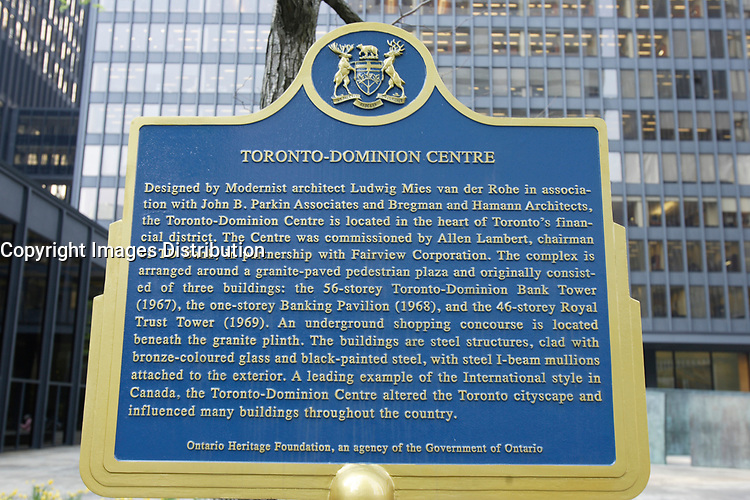 the Toronto Dominion Centre between King Street West and wellington  in downtown Toronto.  Designed by Architect Ludwig Mies Van Der Roche and build between 1967 and 1969.<br /> <br /> <br />     photo by Pierre Roussel - Images Distribution