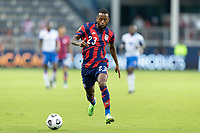 KANSAS CITY, KS - JULY 11: Kellyn Acosta #23 of the United States moves with the ball during a game between Haiti and USMNT at Children's Mercy Park on July 11, 2021 in Kansas City, Kansas.