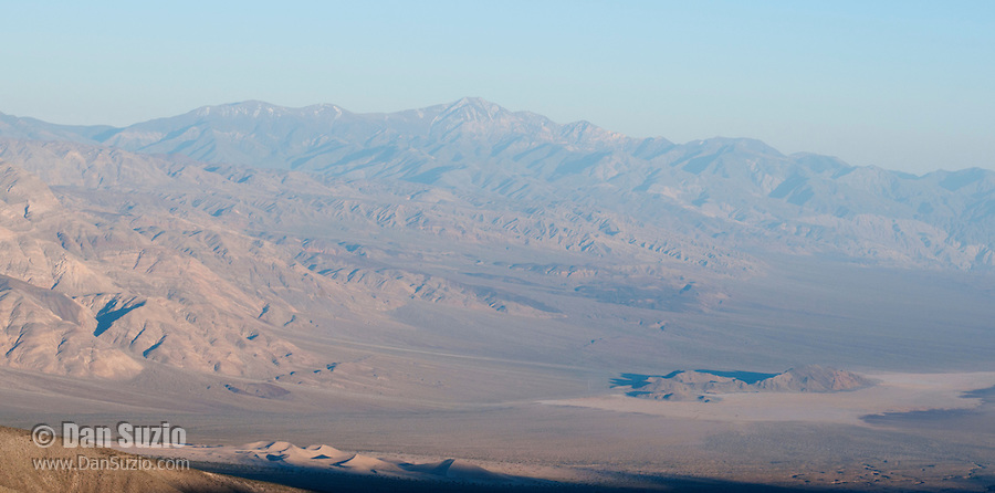 View of Panamint Valley from South Pass, near Hunter Mountain. Panamint Dunes and Lake Hill are visible in the valley. Telescope Peak is the highest point on the horizon. Death Valley National Park, California