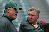 Tampa Bay Devil Rays Manager Lou Piniella talks with Devil Rays general manager Chuck LaMar during a 2003 season MLB game at Angel Stadium in Anaheim, California. (Larry Goren/Four Seam Images)