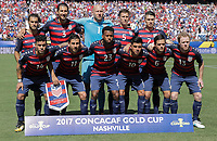Nashville, TN - Saturday July 08, 2017: USMNT starting eleven during a 2017 Gold Cup match between the men's national teams of the United States (USA) and Panama (PAN) at Nissan Stadium.