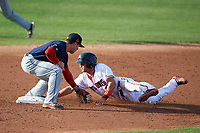 Salem Red Sox shortstop Chad De La Guerra (18) attempts to tag Bryan Mejia (2) sliding into second base during the first game of a doubleheader against the Potomac Nationals on May 13, 2017 at G. Richard Pfitzner Stadium in Woodbridge, Virginia.  Potomac defeated Salem 6-0.  (Mike Janes/Four Seam Images)