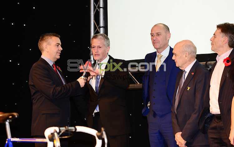 Picture by Simon Wilkinson/SWpix.com - 04/11/2017 Cycling Dave Rayner Fund Dinner 2017 New Dock Yard Royal Armouries, Leeds - Jonny Clay, Chris Walker and Brian Robinson
