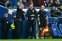 Manchester City manager Pep Guardiola protests with the fourth official against a disallowed goal during the Fly Emirates FA Cup Fourth Round match between Cardiff City and Manchester City at the Cardiff City Stadium, Wales, UK. Sunday 28 January 2018