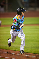 Idaho Falls Chukars Clay Dungan (20) runs to first base during a Pioneer League game against the Missoula Osprey at Melaleuca Field on August 20, 2019 in Idaho Falls, Idaho. Idaho Falls defeated Missoula 6-3. (Zachary Lucy/Four Seam Images)