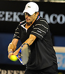 January 25, 2010.Andy Roddick, of the USA, in action defeating Fernando Gonzalez of Chile 6-3, 3-6, 4-6, 7-6, 6-2 in the fourth round of The Australian Open, Melbourne Park, Melbourne, Australia.