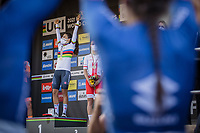 Italian team on the first row at the podium to celebrate Elisa Balsamo (ITA/Valcar-Travel and Service) in the Rainbow jersey <br /> <br /> Women Elite – Road Race (WC)<br /> Race from Antwerp to Leuven (157.7km)<br /> <br /> ©kramon