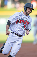 Jacob Stallings (32) of the Indianapolis Indians rounds third base headed home at Victory Field on May 14, 2019 in Indianapolis, Indiana. The Indians defeated the RailRiders 4-2. (Andrew Woolley/Four Seam Images)