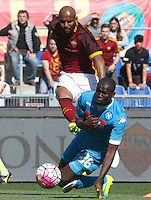 Calcio, Serie A: Roma vs Napoli. Roma, stadio Olimpico, 25 aprile 2016.<br /> Roma's Maicon, left, is challenged by Napoli's Kalidou Koulibaly during the Italian Serie A football match between Roma and Napoli at Rome's Olympic stadium, 25 April 2016.<br /> UPDATE IMAGES PRESS/Riccardo De Luca