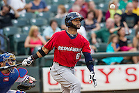 Oklahoma City RedHawks designated hitter Jonathan Villar (6) watches a foul ball bounce in front of him during the Pacific Coast League baseball game against the Round Rock Express on August 1, 2014 at the Dell Diamond in Round Rock, Texas. The Express defeated the RedHawks 6-5. (Andrew Woolley/Four Seam Images)