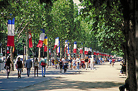 sidewalk along the Champs Elysees. street scene. Paris, France.