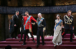 Margot Leicester, Oliver Chris, Tim Pigott-Smith, Lydia Wilson and Richard Goulding  with cast during the Broadway Opening Night performance curtain call bows for 'King Charles III' at the Music Box Theatre on November 1, 2015 in New York City.
