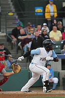 Myrtle Beach Pelicans designated hitter Odubel Herrera #20 at bat during a game against the Salem Red Sox at Ticketreturn.com Field at Pelicans Ballpark on April 3, 2014 in Myrtle Beach, South Carolina. Salem defeated Myrtle Beach 10-3. (Robert Gurganus/Four Seam Images)