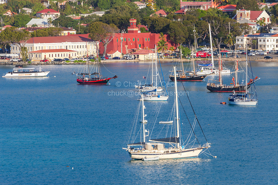 Charlotte Amalie, St. Thomas, U.S. Virgin Islands.  Fort Christian (built 1672-80) from the Harbor.