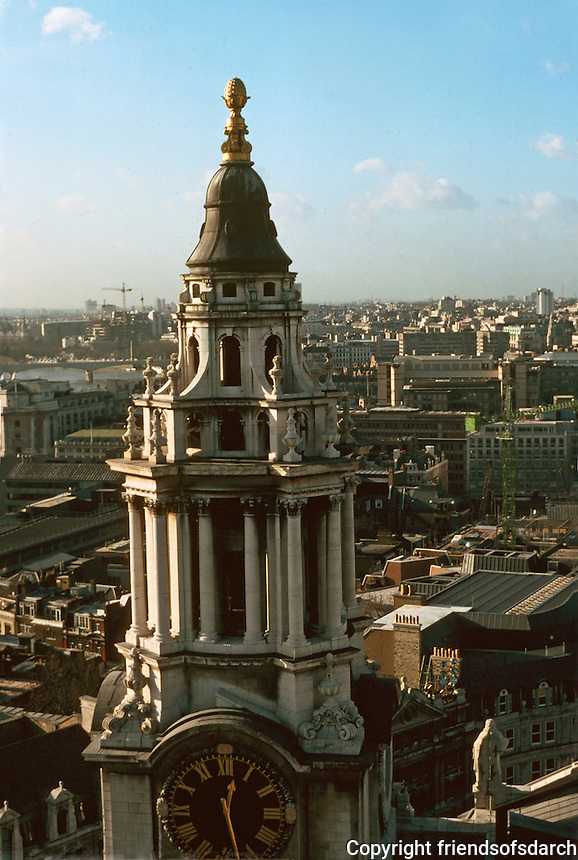 London:  8.  Panoramic view from St. Paul's.  SW by W--South Facade Tower, St. Paul's.  Photo '90.