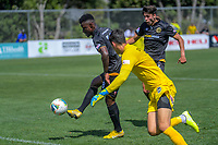 Joao Moreira scores for Team Wellington during the ISPS Handa Premiership football match between Team Wellington and Eastern Suburbs at David Farrington Park in Wellington, New Zealand on Sunday, 1 March 2020. Photo: Dave Lintott / lintottphoto.co.nz