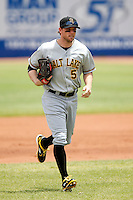 Scott Cousins #5 of the Salt Lake Bees during a game against the Las Vegas 51s at Cashman Field on May 27, 2013 in Las Vegas, Nevada. Las Vegas defeated Salt Lake, 9-7. (Larry Goren/Four Seam Images)