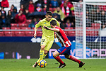 Francisco Portillo Soler (L) of Getafe CF fights for the ball with Jorge Resurreccion Merodio, Koke, of Atletico de Madrid during the La Liga 2017-18 match between Atletico de Madrid and Getafe CF at Wanda Metropolitano on January 06 2018 in Madrid, Spain. Photo by Diego Gonzalez / Power Sport Images