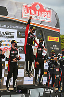 6th June 2021; Olbia, Sardinia, Italy; WRC Rally of Sardegna, final day; Stages SS17-SS20;  Sebastien Ogier-Toyota Yaris WRC celebrates his win opn podium