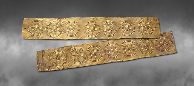 Mycenaean Gold decrated bands  from Grave IV, Grave Circle A, Myenae, Greece. National Archaeological Museum Athens. 16th Cent BC. Grey art Background