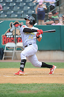 Reading Fightin Phils infielder Jake Fox (34) hits a home run during game against the New Britain Rock Cats  at New Britain Stadium on July 13, 2014 in New Britain, CT. Reading defeated New Britain 6-4.  (Tomasso DeRosa/Four Seam Images)