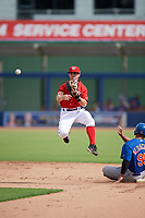 GCL Nationals second baseman Phil Caulfield (3) attempts to turn a double play as Raul Beracierta (95) slides in during the first game of a doubleheader against the GCL Mets on July 22, 2017 at The Ballpark of the Palm Beaches in Palm Beach, Florida.  GCL Mets defeated the GCL Nationals 1-0 in a seven inning game that originally started on July 17th.  (Mike Janes/Four Seam Images)