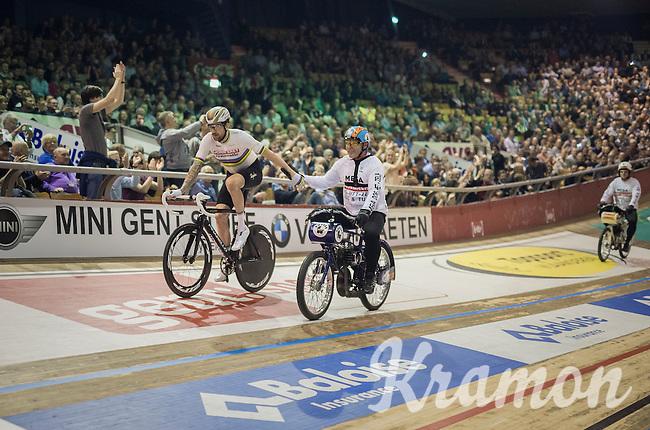 victory for derny rider Michel Vaarten & Sir Bradley Wiggins (GBR/Wiggins)<br /> <br /> 2016 Gent 6<br /> day 4