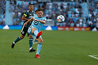 ST PAUL, MN - AUGUST 14: Wil Trapp #20 of Minnesota United FC kicks the ball during a game between Los Angeles Galaxy and Minnesota United FC at Allianz Field on August 14, 2021 in St Paul, Minnesota.