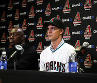 Zack Greinke is introduced to the media at a press conference held after the Arizona Diamondbacks signed the right-handed pitcher as a free agent. The event was held at Chase Field on December 11, 2015 in Phoenix, Arizona (Bill Mitchell)