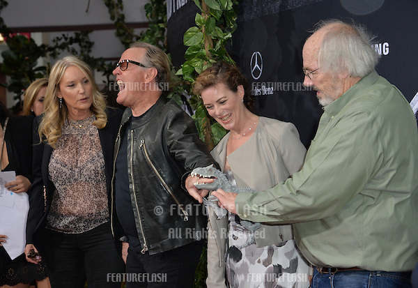 """Peter Fonda & wife Margaret Parky DeVogelaere with paleontologist Jack Horner (right) at the world premiere of """"Jurassic World"""" at the Dolby Theatre, Hollywood.<br /> June 10, 2015  Los Angeles, CA<br /> Picture: Paul Smith / Featureflash"""