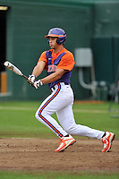 Sophomore infielder Glenn Batson (15) (Greenville High School) of the Clemson Tigers in a fall practice intra-squad Orange-Purple scrimmage on Sunday, September 27, 2015, at Doug Kingsmore Stadium in Clemson, South Carolina. (Tom Priddy/Four Seam Images)