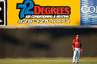 Center fielder Miguel Velazquez #15 of the Hickory Crawdads at  L.P. Frans Stadium May 8, 2010, in Hickory, North Carolina.  Photo by Brian Westerholt / Four Seam Images