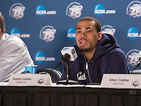 March 21st, 2013: California's Justin Cobbs answers reporter's questions during post West Coast Conference Men's NCAA Basketball game against UNLV at HP Pavilion, San Jose, California. California defeated UNLV 64 - 61