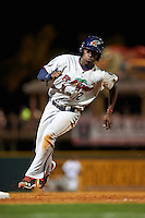 Fort Myers Miracle shortstop Nick Gordon (2) running the bases during a game against the Bradenton Marauders on April 9, 2016 at McKechnie Field in Bradenton, Florida.  Fort Myers defeated Bradenton 5-1.  (Mike Janes/Four Seam Images)