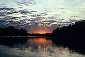 Pantanal, Brazil. Sunrise on the river in the Pantanal, Mato Grosso.