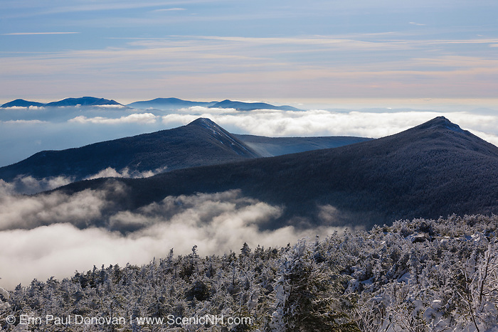 Mount Liberty and Mount Flume from Little Haystack Mountain. These mountains are part of Franconia Ridge in the White Mountains of New Hampshire.