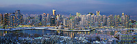 Vancouver City Skyline and Downtown at Yaletown and False Creek, BC, British Columbia, Canada, Winter - Panoramic View