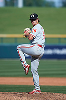 Glendale Desert Dogs relief pitcher JD Hammer (26), of the Philadelphia Phillies organization, delivers a pitch to the plate during an Arizona Fall League game against the Mesa Solar Sox on October 28, 2017 at Sloan Park in Mesa, Arizona. The Solar Sox defeated the Desert Dogs 9-6. (Zachary Lucy/Four Seam Images)