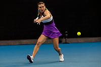 12th February 2021, Melbourne, Victoria, Australia; Simona Halep of Romania returns the ball during round 3 of the 2021 Australian Open on February 12 2020, at Melbourne Park in Melbourne, Australia.
