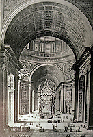 Italy: Rome: St. Peter's --Crossing showing Bernini's Baldacchino (1624-33).  Photo '85.
