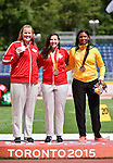 Jennifer Brown and Renee Foessel, Toronto 2015 - Para Athletics // Para-athlétisme.<br /> Jennifer Brown and Renee Foessel receive their medals for the Women's Discus Throw F37/38/44 Final // Jennifer Brown et Renee Foessel reçoivent leurs médailles pour la finale du lancer du disque féminin F37/38/44. 13/08/2015.
