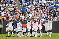 Honduras (HON) players celebrate after the game. Honduras (HON) defeated Canada (CAN) 1-0 during a quarterfinal match of the CONCACAF Gold Cup at Lincoln Financial Field in Philadelphia, PA, on July 18, 2009.