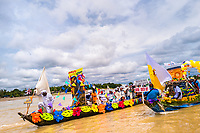 The Franciscan districts representatives travel the Atrato river in colorfully adorned boats during the San Pacho festival in Quibdó, Colombia, 3 October 2019. Every year at the turn of September and October, the capital of the Pacific region of Chocó holds the celebrations in honor of Saint Francis of Assisi (locally named as San Pacho), recognized as Intangible Cultural Heritage by UNESCO. Each day carnival groups, wearing bright colorful costumes and representing each neighborhood, dance throughout the city, supported by brass bands playing live music. The festival culminates in a traditional boat ride on the Atrato River, followed by massive religious processions, which accent the pillars of Afro-Colombian's identity – the Catholic devotion grown from African roots.