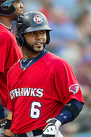 Oklahoma City RedHawks designated hitter Jonathan Villar (6) during the Pacific Coast League baseball game against the Round Rock Express on August 1, 2014 at the Dell Diamond in Round Rock, Texas. The Express defeated the RedHawks 6-5. (Andrew Woolley/Four Seam Images)