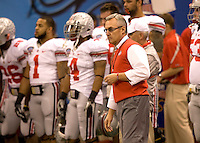 Ohio State head coach Jim Tressel is pictured during warm-ups before the game against Arkansas during 77th Annual Allstate Sugar Bowl Classic at Louisiana Superdome in New Orleans, Louisiana on January 4th, 2011.  Ohio State defeated Arkansas, 31-26.