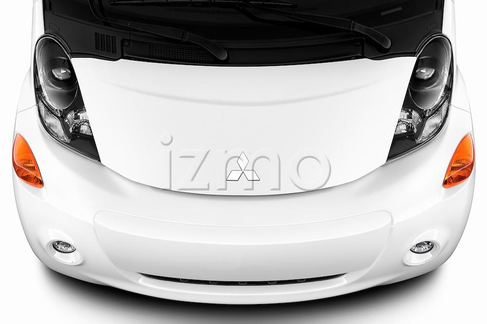 Hood and engine view of electric car 2012 Mitsubishi MiEV SE