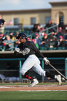Domingo Leyba (2) of the Visalia Rawhide bats against the Lancaster JetHawks at The Hanger on May 7, 2016 in Lancaster, California. Lancaster defeated Visalia, 19-5. (Larry Goren/Four Seam Images)